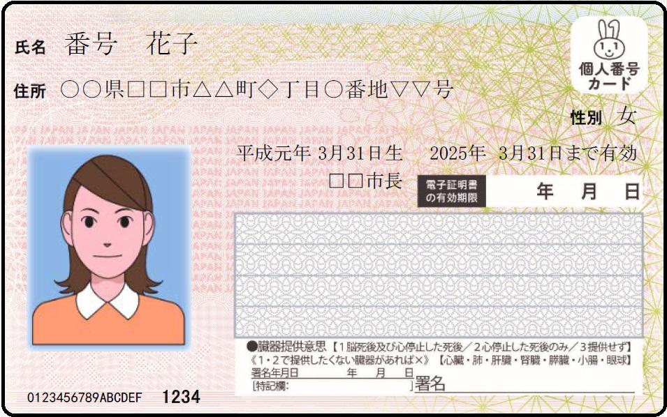 Cartão My Number com foto
